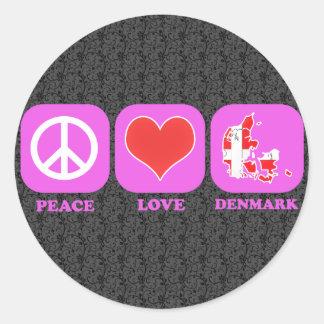 Peace Love Denmark Classic Round Sticker