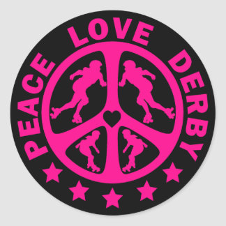 Peace Love Derby Classic Round Sticker