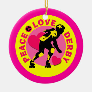 Peace Love Derby Round Ceramic Ornament