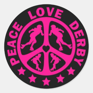 Peace Love Derby Round Sticker