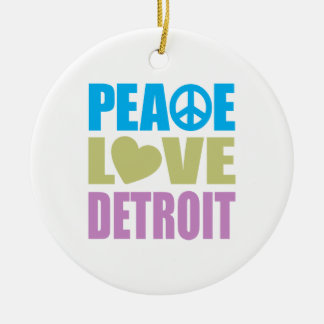 Peace Love Detroit Ceramic Ornament