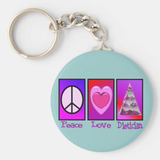 Peace Love Dietician Basic Round Button Keychain