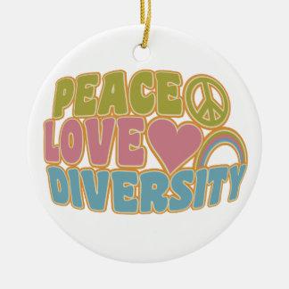 PEACE LOVE DIVERSITY custom ornament