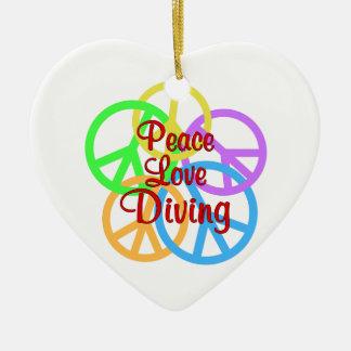 Peace Love Diving Ceramic Ornament