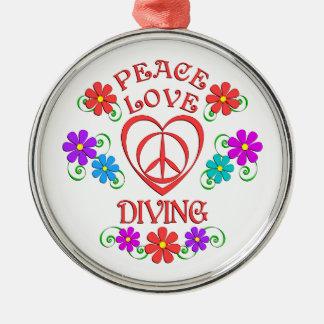Peace Love Diving Metal Ornament