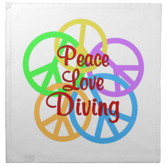 Peace Love Diving Printed Napkin