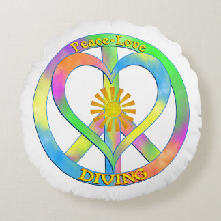 Peace Love Diving Round Pillow