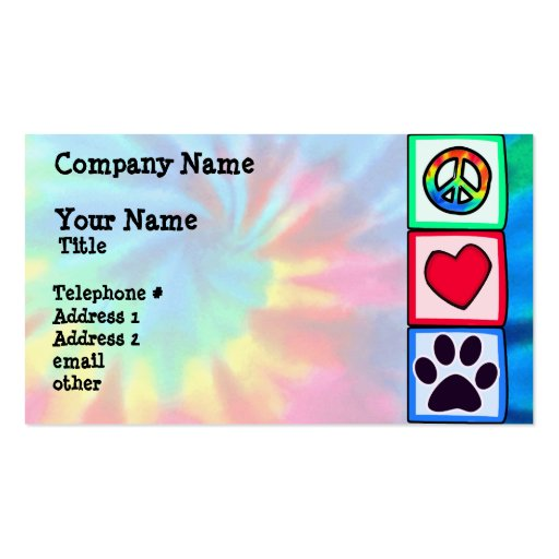 Peace, Love, Dog; Pawprint Business Cards