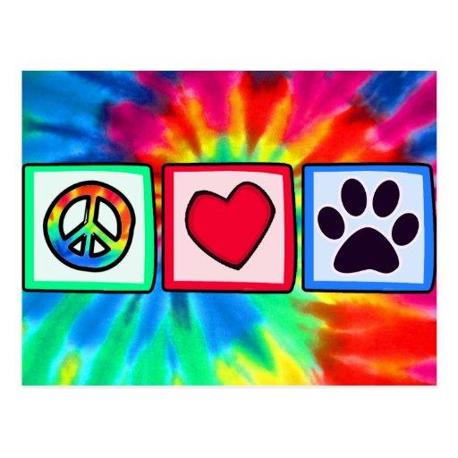 Peace, Love, Dog; Pawprint Post Card