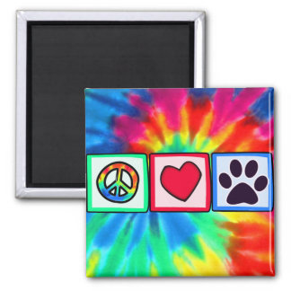 Peace, Love, Dog; Pawprint Square Magnet