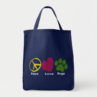 Peace Love Dogs-Grocery Tote Tote Bag