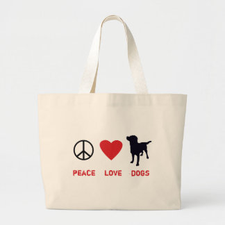 Peace Love Dogs Large Tote Bag