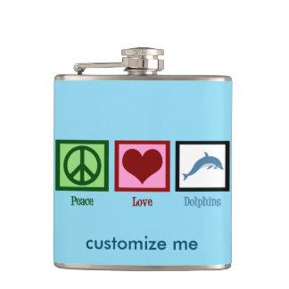 Peace Love Dolphins Custom Blue Hip Flask