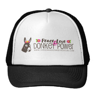 Peace Love Donkey Power Logo Trucker Hat
