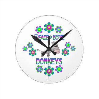 Peace Love Donkeys Wall Clock