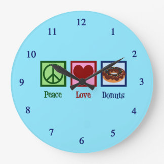 Peace Love Donuts Large Clock