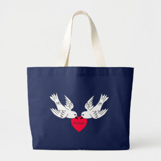 Peace Love Doves Heart Large Tote Bag