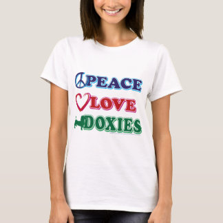 Peace-Love-Doxies- Dachsund T-Shirt