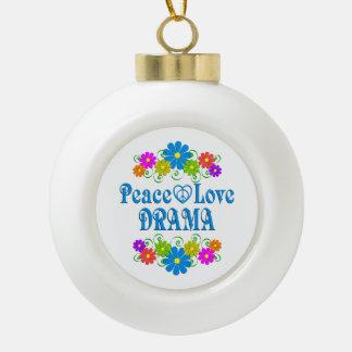 Peace Love Drama Ceramic Ball Ornament