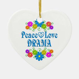 Peace Love Drama Ceramic Heart Ornament
