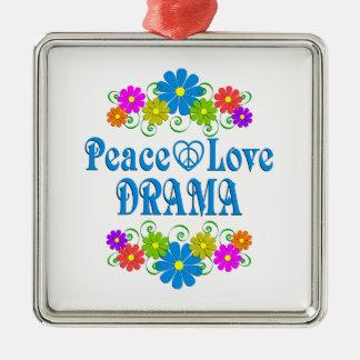 Peace Love Drama Silver-Colored Square Ornament