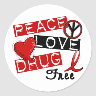 Peace Love Drug Free Classic Round Sticker