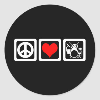 Peace love drums classic round sticker
