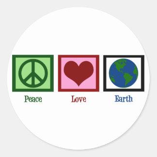 Peace Love Earth Classic Round Sticker