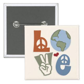 Peace Love Earth Magnet Button