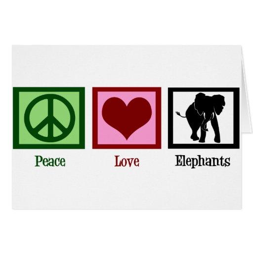 Peace Love Elephants Greeting Card