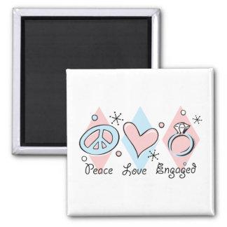 Peace Love Engaged Fridge Magnets