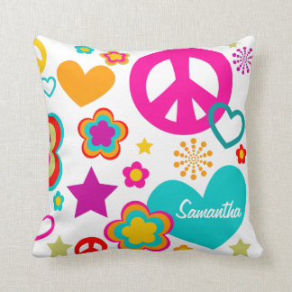Peace Love & Everything Girly Throw Pillow