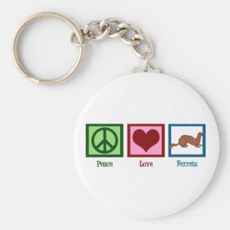 Peace Love Ferrets Basic Round Button Keychain