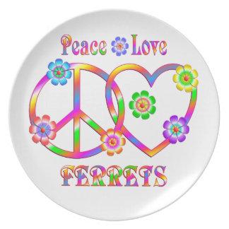 Peace Love Ferrets Plate
