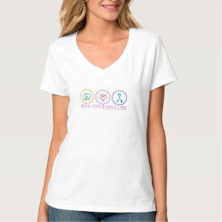 Peace, Love & Find a Cure Women's V-Neck Tee