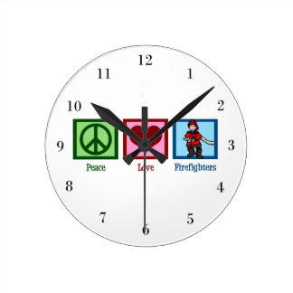 Peace Love Firefighters Round Clock