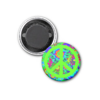 Peace & Love - Flower Power 1 Inch Round Magnet