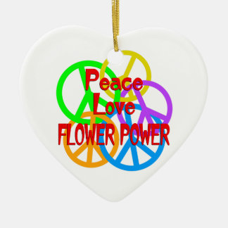 Peace Love Flower Power Ceramic Heart Ornament
