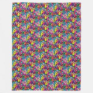 Peace, Love & Flowers Fleece Blanket