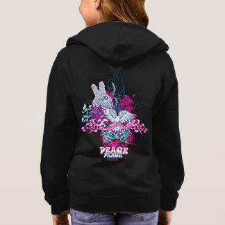 Peace Love & Flowers Graphic Girls Hoodie
