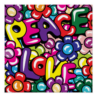 Peace, Love & Flowers Perfect Poster