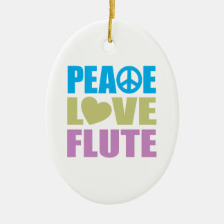 Peace Love Flute Ceramic Ornament