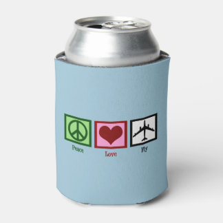 Peace Love Fly Can Cooler
