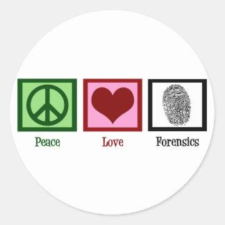 Peace Love Forensics Round Sticker