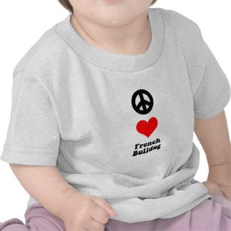 Peace love French Bulldog Tshirts