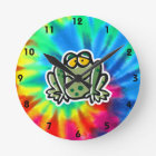 Peace, Love, Frogs Round Clock