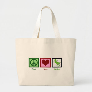 Peace Love Geckos Large Tote Bag