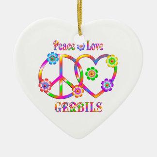 Peace Love Gerbils Ceramic Ornament