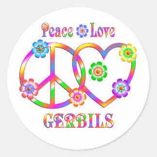 Peace Love Gerbils Classic Round Sticker