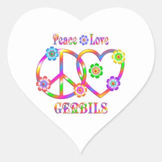 Peace Love Gerbils Heart Sticker